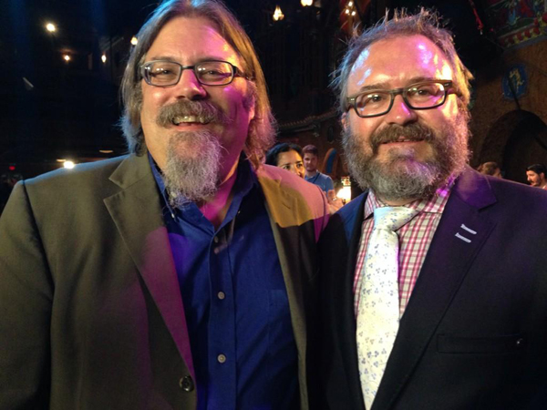 (Left) Author David Wondrich with Chef Jonathan Justus.