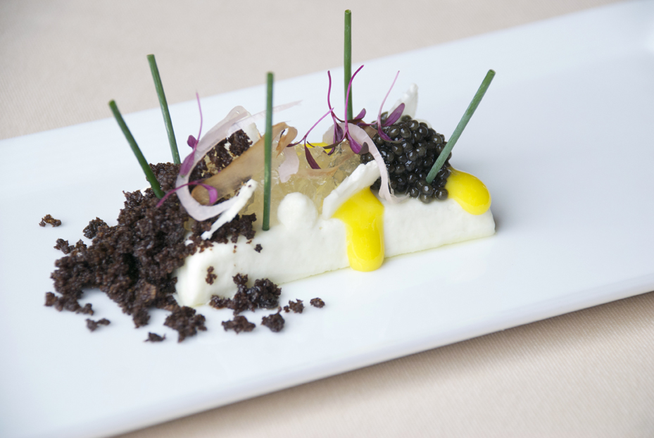 Cauliflower-infused panna cotta with osetra caviar.