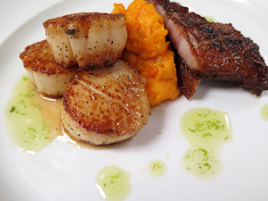 Bacon Scallops with butternut squash puree.