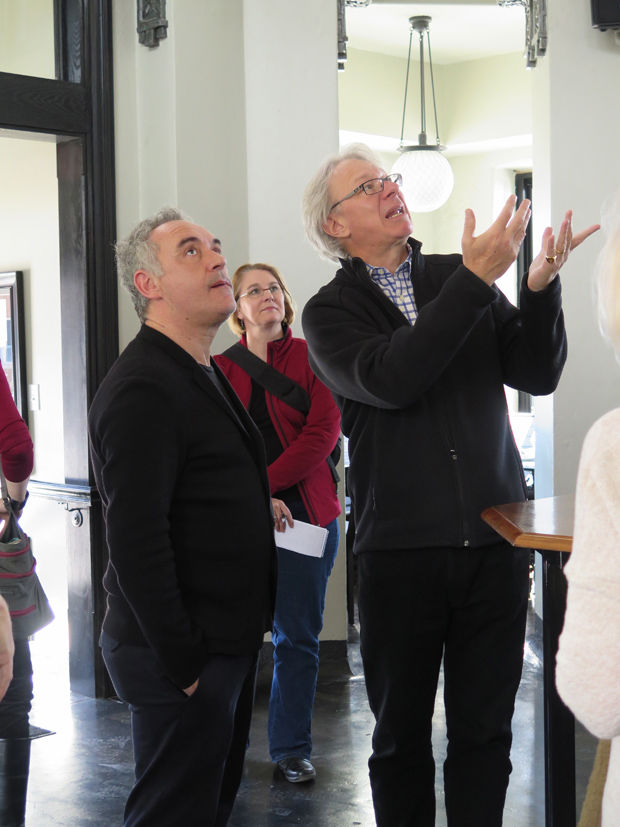 Ferran Adrià and Julián Zugazagoitia discuss the historic building at Amigoni Winery
