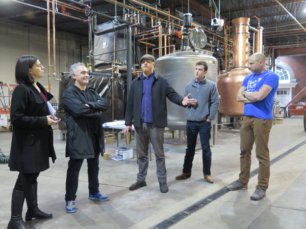 Translator Sofia Perez, Adria, Maybee, Rieger and head distiller Nathan Perry.