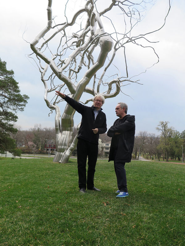 Our day began by meeting Julián Zugazagoitia (left), director of the Nelson-Atkins Museum of Art, and acclaimed Chef Ferran Adrià, visiting Kansas City from Spain, in the museum's sculpture park.